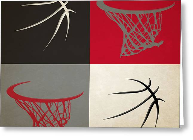 Dunk Greeting Cards - Trail Blazers Ball And Hoop Greeting Card by Joe Hamilton