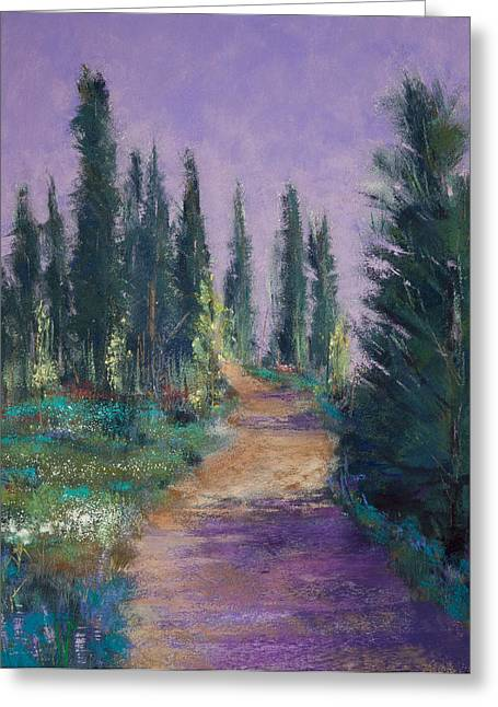 David Pastels Greeting Cards - Trail in the Woods Greeting Card by David Patterson