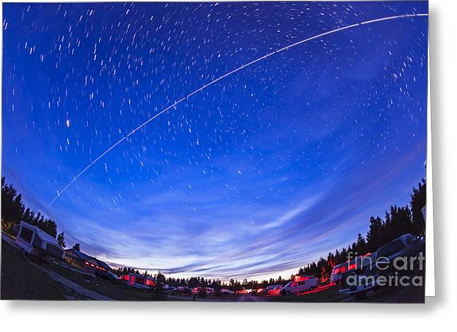 Cypress Hills Interprovincial Park Greeting Cards - Trail Of The International Space Greeting Card by Alan Dyer