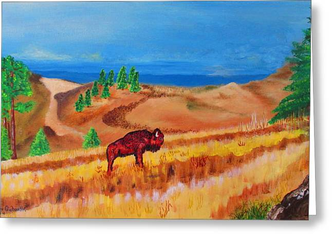 Buffalo Extinction Greeting Cards - Monarch Of The Plains Greeting Card by S AshleyAnn Goforth