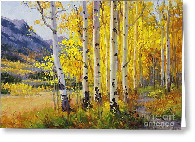 Aspen Grove Greeting Cards - Trail through Golden Aspen  Greeting Card by Gary Kim