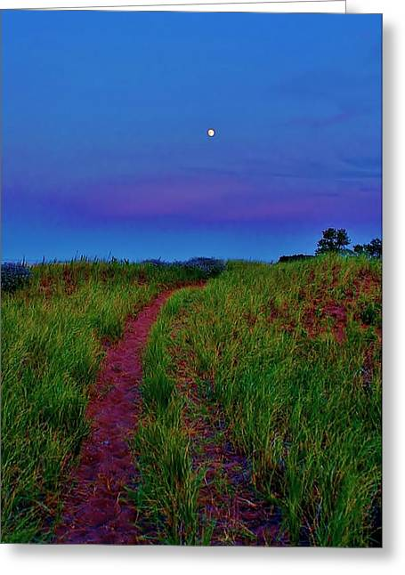 Moon Beach Greeting Cards - Trail to the Moon Greeting Card by Paul Berish