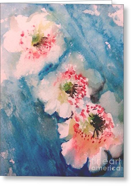 Wet In Wet Watercolor Greeting Cards - Trail Greeting Card by Trilby Cole