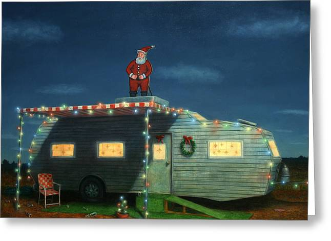 Santa Greeting Cards - Trailer House Christmas Greeting Card by James W Johnson