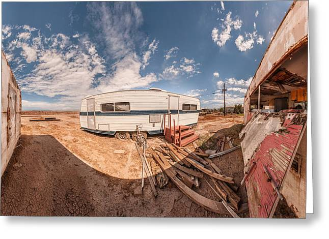 California Beach Greeting Cards - Trailer On Bombay Beach, Salton Sea Greeting Card by Panoramic Images