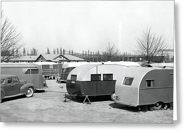 Trailer Park Greeting Cards - Trailer Park 1939 Greeting Card by Daniel Hagerman