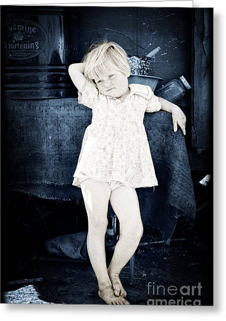 Sorrow Photographs Greeting Cards - Trailer Park Girl Greeting Card by Vintage