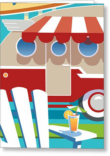 Adirondak Chair Greeting Cards - Trailer Park Greeting Card by Larry Hunter