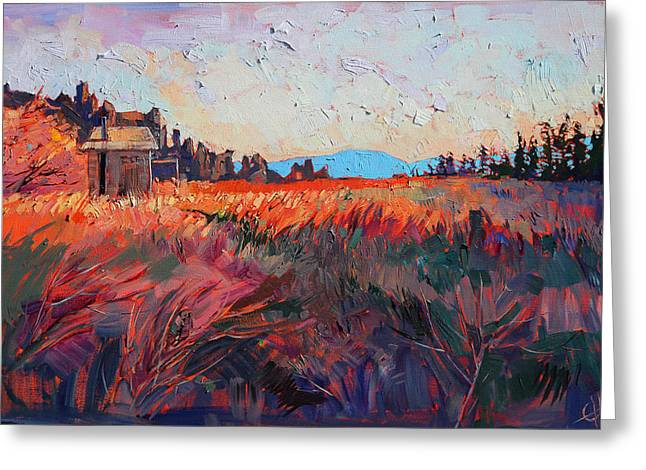 Backpacking Paintings Greeting Cards - Trails End Greeting Card by Erin Hanson