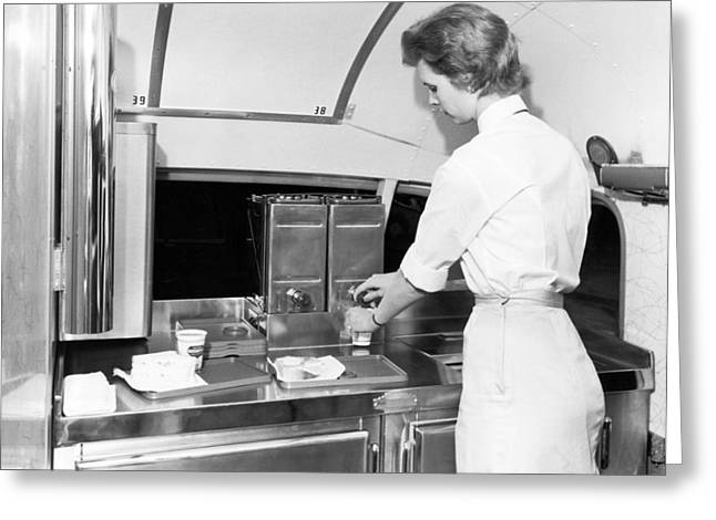 Women Only Greeting Cards - Trailways Bus Line Hostess Greeting Card by Underwood Archives