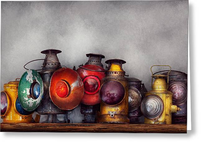 Train - A collection of Rail Road lanterns  Greeting Card by Mike Savad