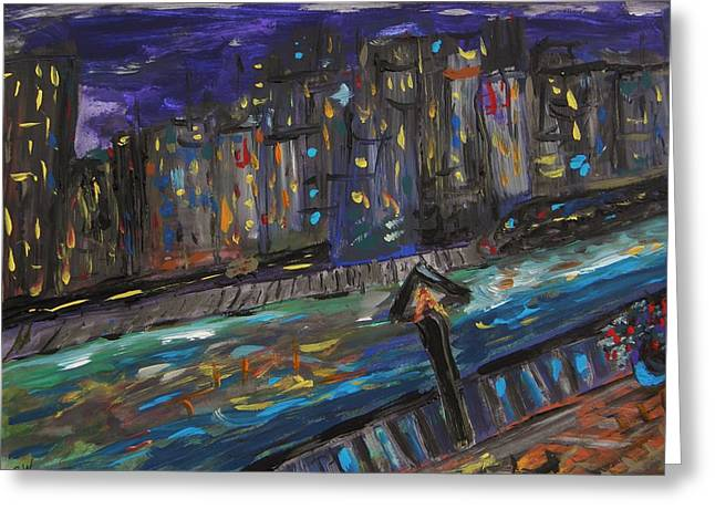 Night Lamp Drawings Greeting Cards - Train Across the River Greeting Card by Mary Carol Williams