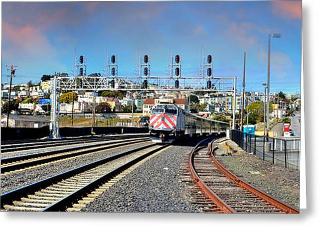 Rusted Cars Greeting Cards - Train Approaching Greeting Card by Jim Fitzpatrick