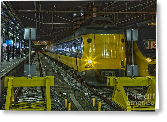 Journeys End Greeting Cards - Train arriving Greeting Card by Patricia Hofmeester