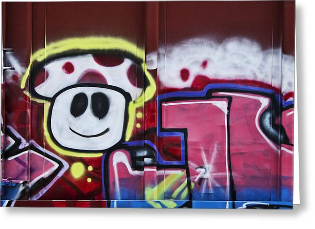 Graffiti Photographs Greeting Cards - Train Art Cartoon Face Greeting Card by Carol Leigh