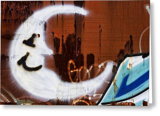 Graffiti Photographs Greeting Cards - Train Art Man in the Moon Greeting Card by Carol Leigh