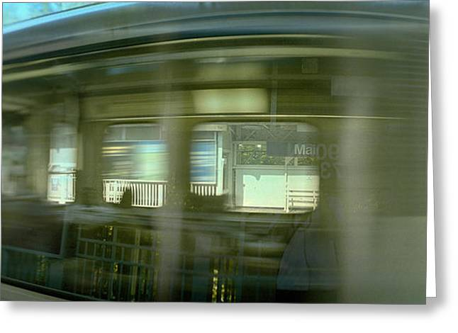 Train Photography Greeting Cards - Train At Railroad Station Platform Greeting Card by Panoramic Images