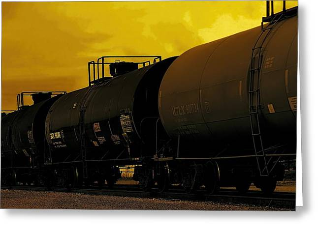 Collector Car Mixed Media Greeting Cards - Train At Sunset Greeting Card by Dan Sproul