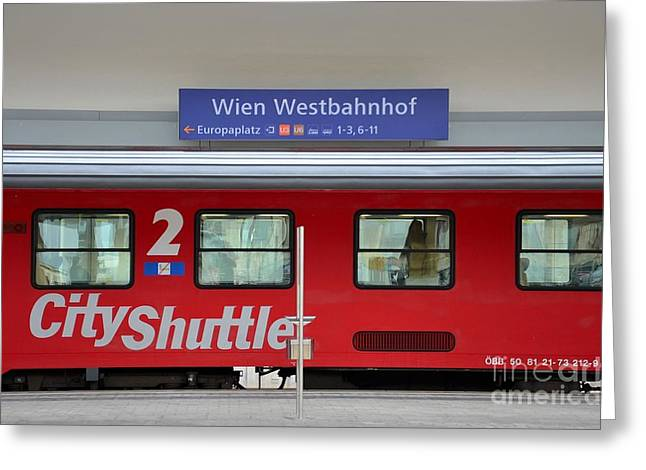 Bogey Greeting Cards - Train at Vienna railway station  Greeting Card by Imran Ahmed