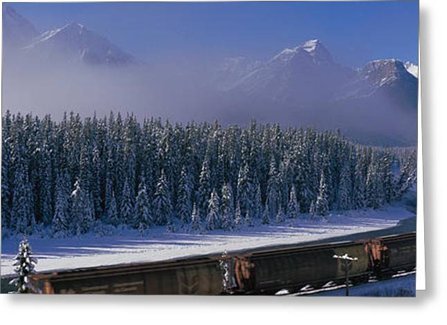 Snow Capped Greeting Cards - Train Banff National Park Alberta Canada Greeting Card by Panoramic Images