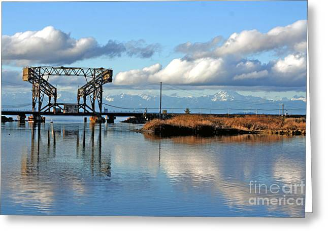 Steilacoom Greeting Cards - Train Bridge Greeting Card by Chris Anderson