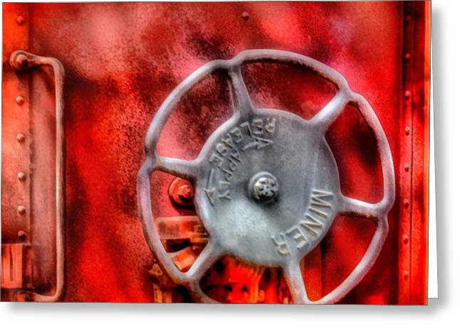Train - Car - The Wheel Greeting Card by Mike Savad
