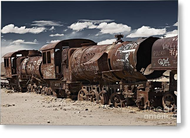 train cemetery at Salar de Uyuni Greeting Card by Juergen Ritterbach