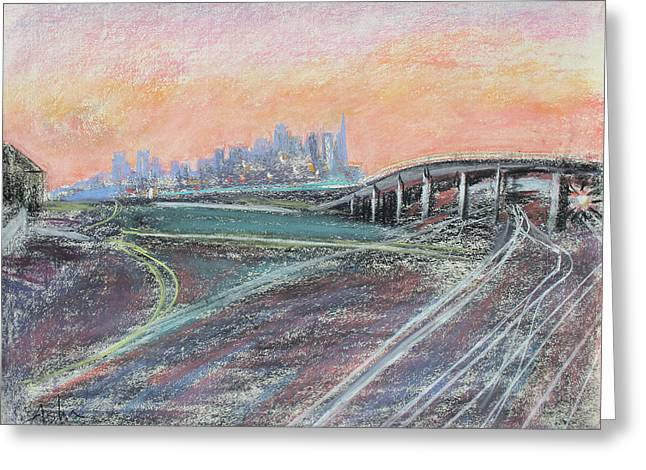 Urban Buildings Pastels Greeting Cards - Train Coming at Sunset in West Oakland Greeting Card by Asha Carolyn Young