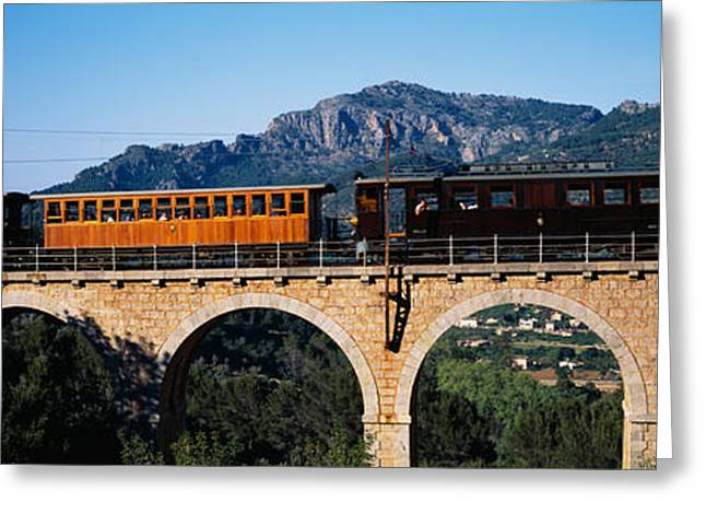Train On Bridge Greeting Cards - Train Crossing A Bridge, Sierra De Greeting Card by Panoramic Images