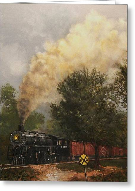 Wisconsin Landscape Greeting Cards - Train Crossing Soo Line 1003 Greeting Card by Tom Shropshire