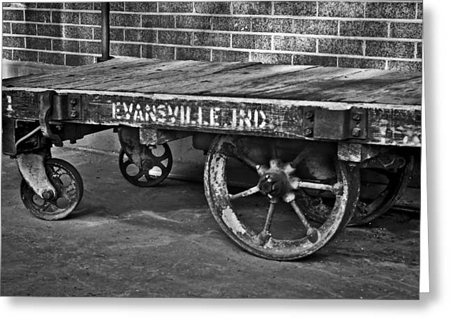 Evansville Digital Greeting Cards - Train Depot Baggage Cart 2td1 in b/w Greeting Card by Greg Jackson