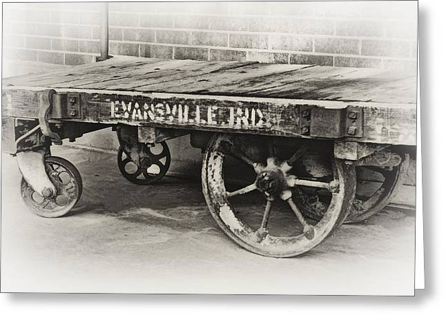 Evansville Digital Greeting Cards - Train Depot Baggage Cart in high key b/w Greeting Card by Greg Jackson