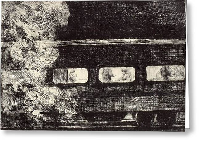 Side View Mixed Media Greeting Cards - Train Greeting Card by Emily Gibson