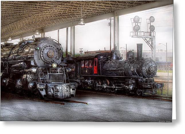 Oldies Greeting Cards - Train - Engine - 1218 - End of the line  Greeting Card by Mike Savad