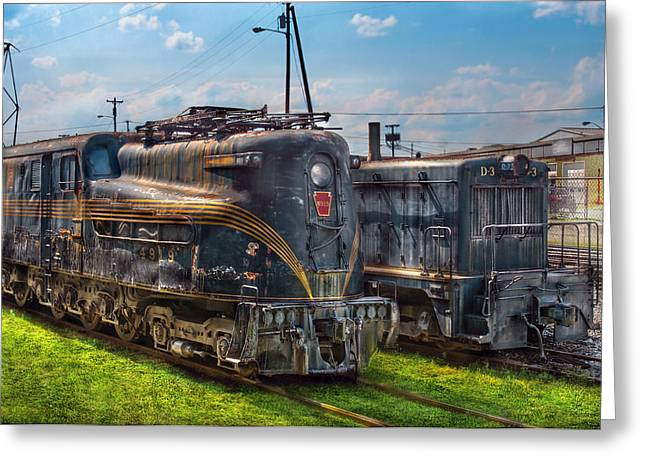 Old Relics Greeting Cards - Train - Engine - 4919 - Pennsylvania Railroad electric locomotive  4919  Greeting Card by Mike Savad