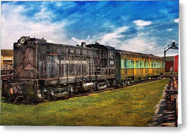 Express Greeting Cards - Train - Engine - Baldwin Locomotive Works Greeting Card by Mike Savad
