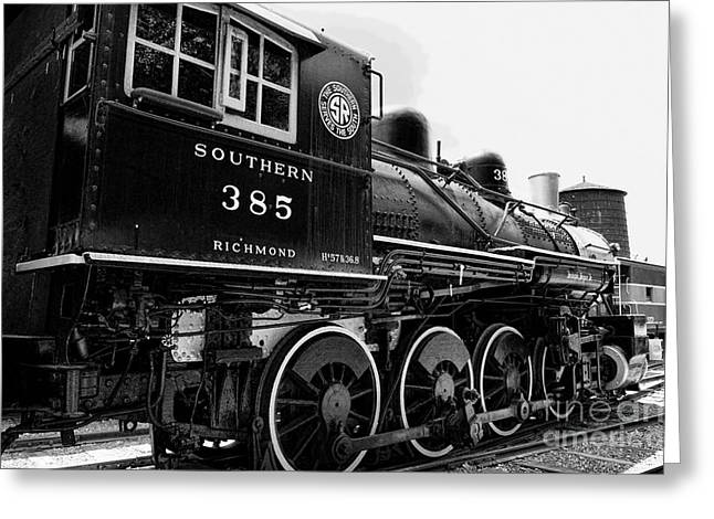 Watertower Greeting Cards - Train - Engine - Black and White Greeting Card by Paul Ward