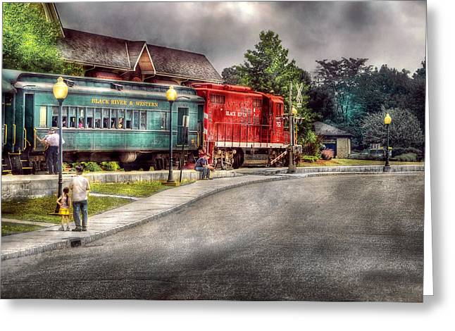 Train - Engine - Black River Western Greeting Card by Mike Savad