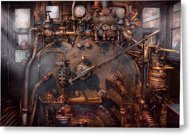 Train - Engine - Hot under the collar  Greeting Card by Mike Savad