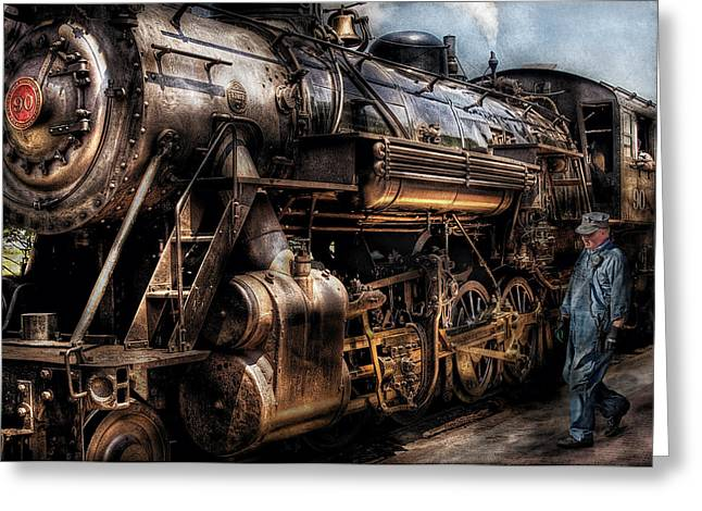 Road Travel Greeting Cards - Train - Engine -  Now boarding Greeting Card by Mike Savad