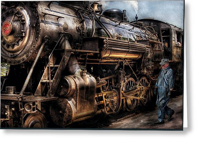 Steam-punk Greeting Cards - Train - Engine -  Now boarding Greeting Card by Mike Savad