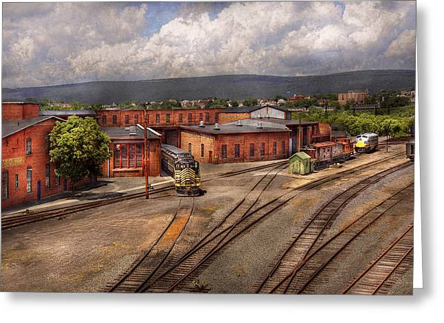 Train Yard Greeting Cards - Train - Entering the train yard Greeting Card by Mike Savad