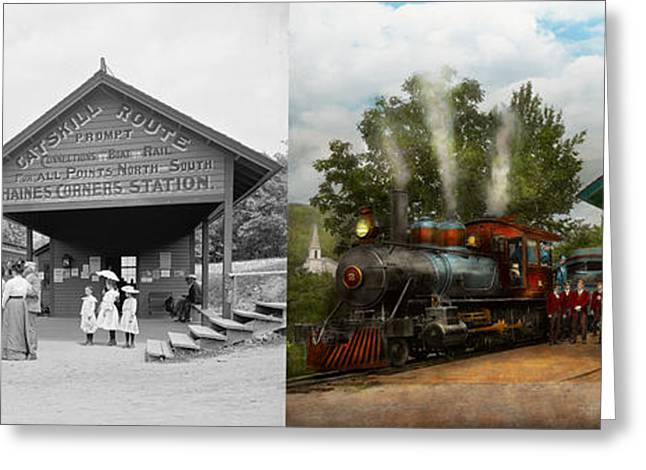 Victorian Greeting Cards - Train - Haines Corners - Catskill Mountains - NY - Waiting for departure - 1901 - Side by side Greeting Card by Mike Savad