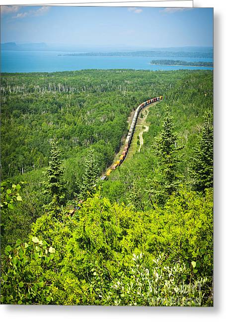 Freighting Greeting Cards - Train in northern Ontario Greeting Card by Elena Elisseeva