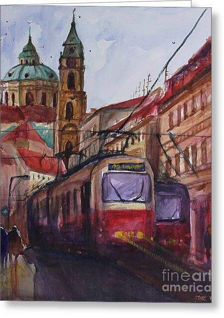Prague Paintings Greeting Cards - Train in Prague Greeting Card by Lior Ohayon