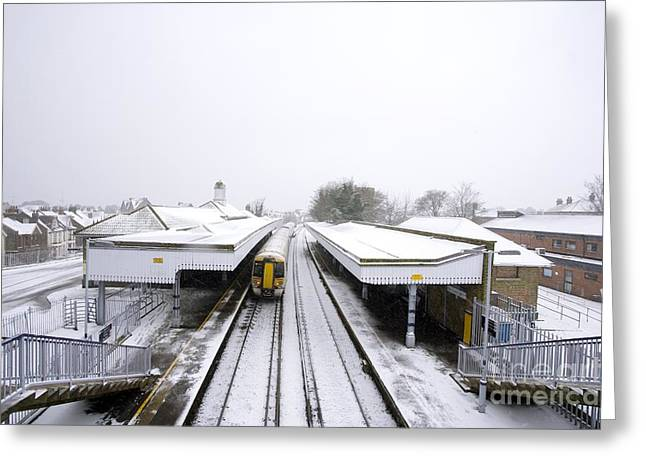 Wintry Greeting Cards - Train In Winter Greeting Card by Carlos Dominguez
