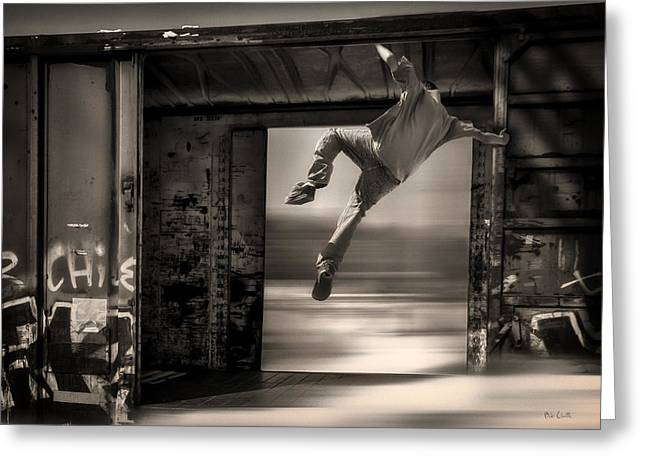 Train Jumping Greeting Card by Bob Orsillo
