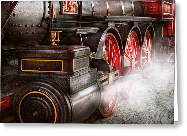 Locomotive Wheels Greeting Cards - Train - Let off some steam  Greeting Card by Mike Savad