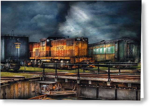 Train - Let's Go For A Spin Greeting Card by Mike Savad