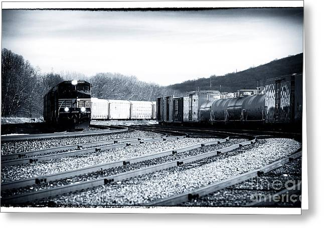 Black And White Train Track Prints Greeting Cards - Train Lights Greeting Card by John Rizzuto